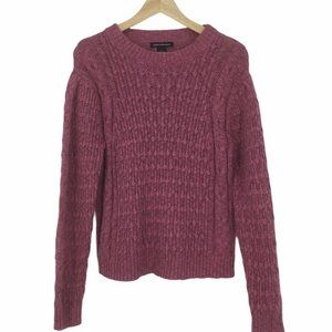 Something Navy Pink Cable Knit Sweater Size M